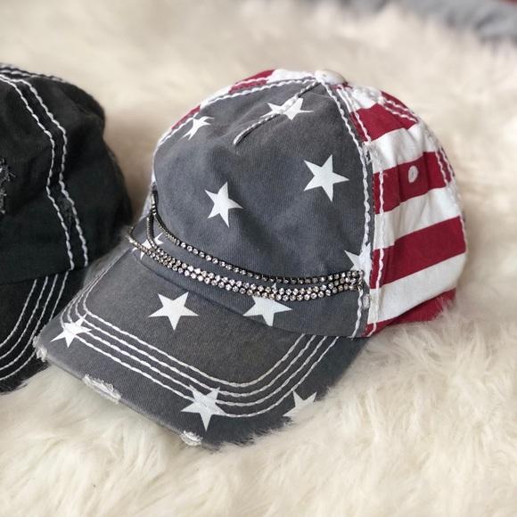 Olive + Pique American Flag Bling Hat. M 5b26913545c8b38ff8da8b6b ef34774a20b